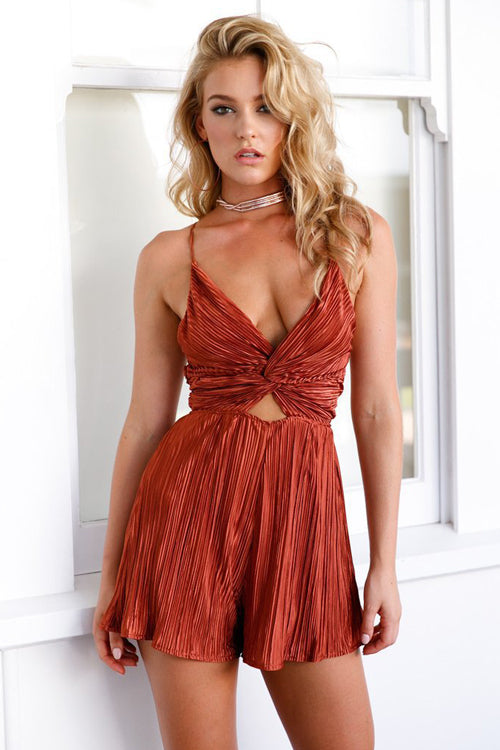 Cross Back Pleated Romper