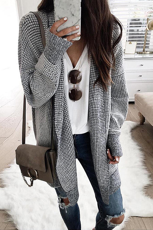 My Treasure Check OL Knit Cardigan