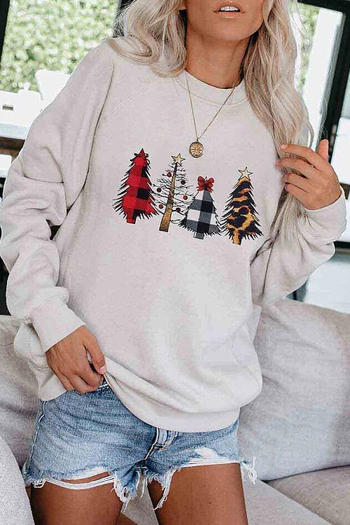 Christmas Tree Grey Long Sleeve Top