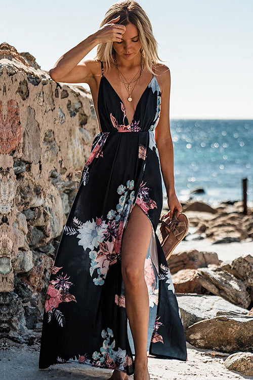 Backless Print High-slit Beach Maxi Dress