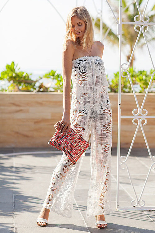 Strapless Lace Hollow-out Jumpsuit