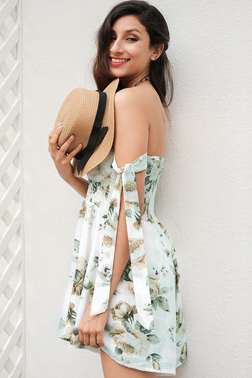 Print Pleated Bandage Romper