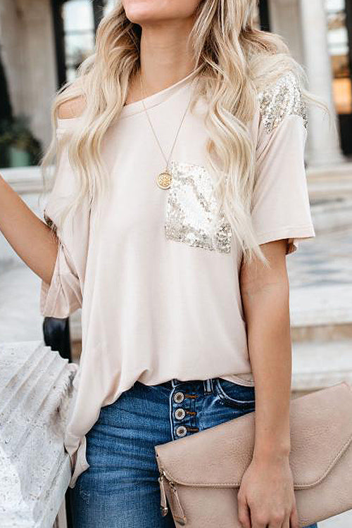 Tee for You Sequin Sleeve Pocket Tee - 2 Colors