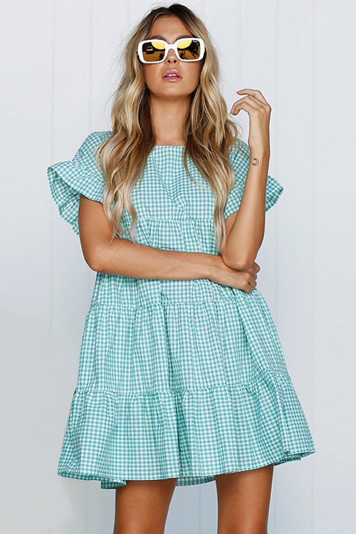 Tartan Layered Ruffle Sleeve Baby Dress - 3 Colors