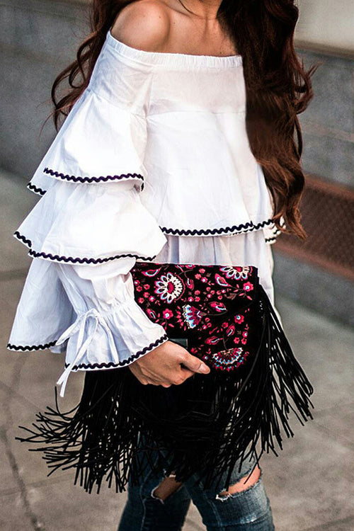 Off Shoulder Ruffle Shirt Blouse