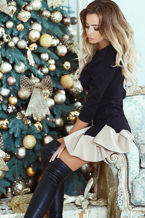 Christmas Tree Ruffle Hem Mini Dress
