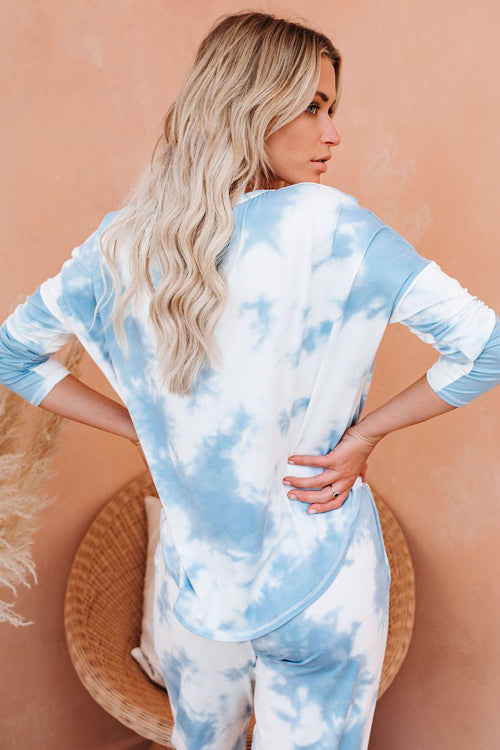 Moon River Long Sleeve Tie-Dye Pajamas Set