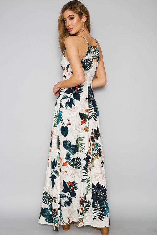 Tropical Forest Print Maxi Dress