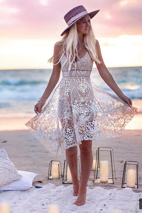 V-neck Fit&Flare Sparkle Mini Dress