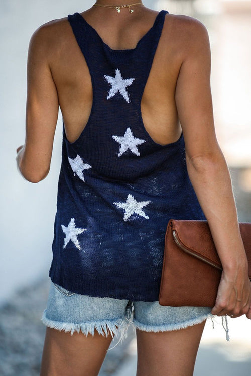 See You Soon Star Knit Tank Top