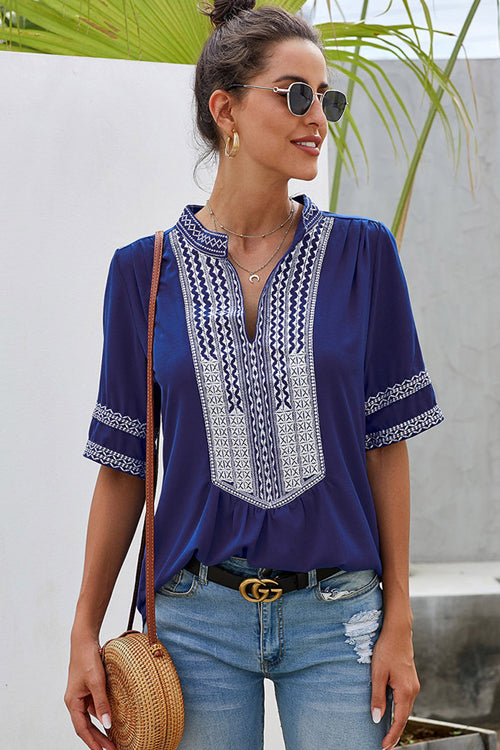 Go-Better Boho Embroidery Short Sleeve Top - 4 Colors