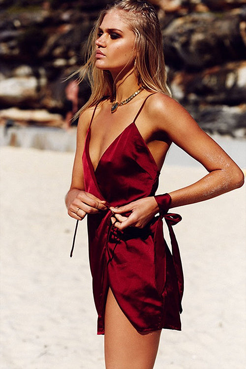 Wine Red Spaghetti Wrap Dress