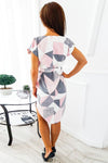 Geometric Tie-waist Midi Dress