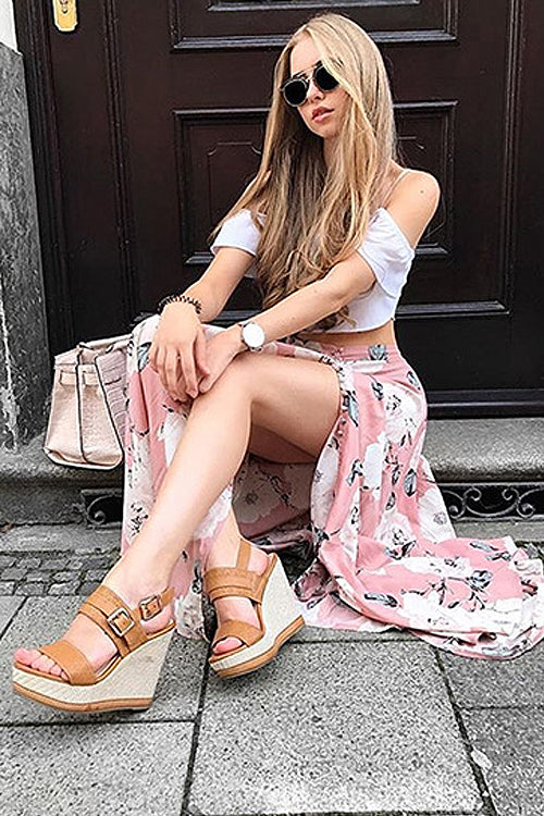 Rose Print High-slit Pants