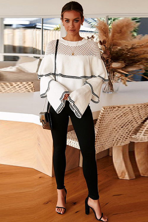 Chic Me Layered Hollow-Out Knit Sweater - 2 Colors