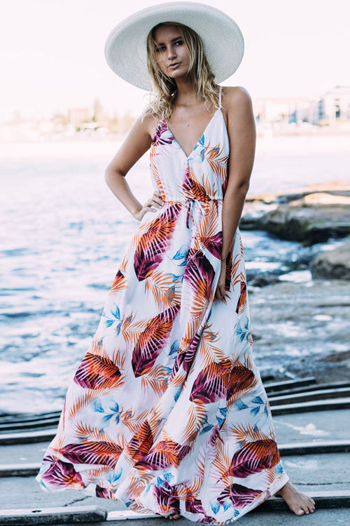 Boho Print Elastic Beach Maxi Dress - 4 Colors