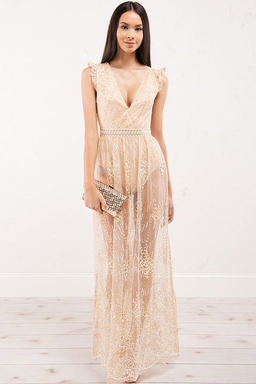 Lace Backless Sparkle Dress