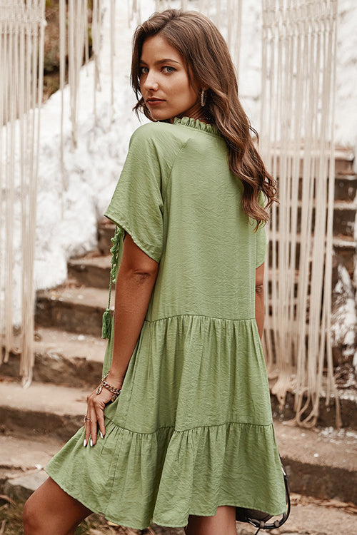Weekend Party Short Sleeve Tassel Mini Dress - 3 Colors
