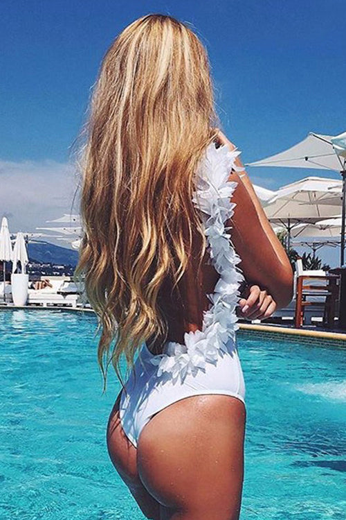 Backless Petal Hem Swimsuit