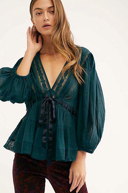Chic Pursuit Lace Up Balloon Sleeve Shirt - 2 Colors