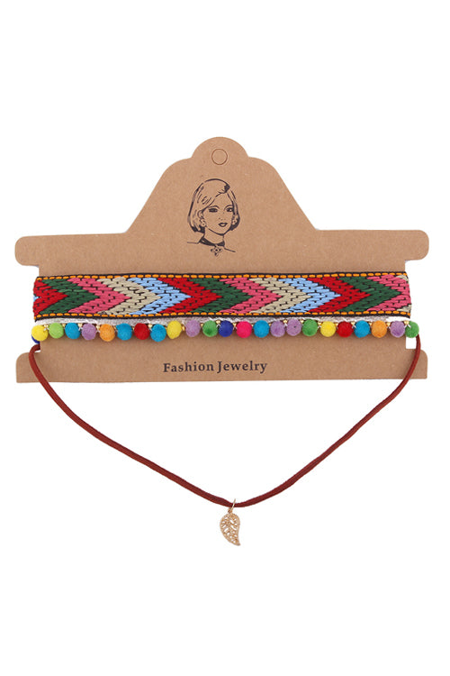 Knit Ethnic Colorful Choker