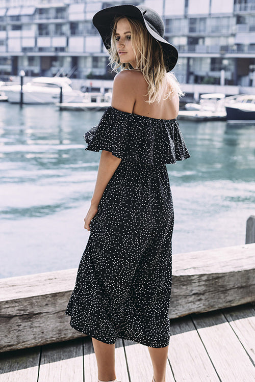 Black Dot Off the Shoulder Jumpsuit