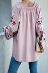 Sugar Plum Floral Print Balloon Sleeve Top - 4 Colors