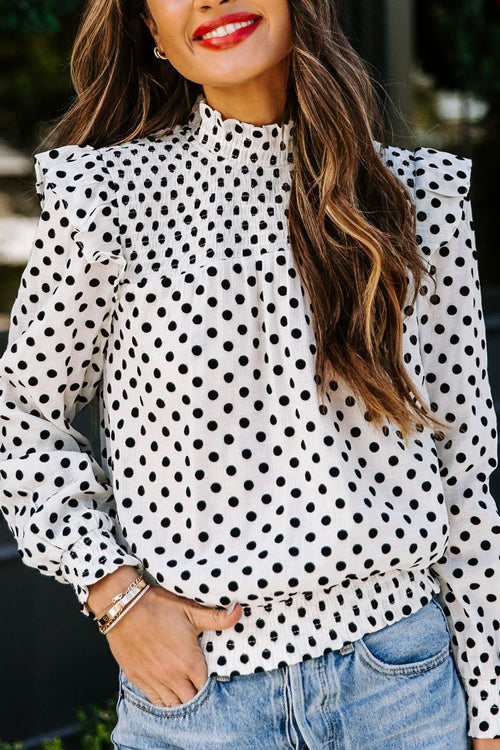 Sweet Spot Dotted Up Pleated Long Sleeve Top