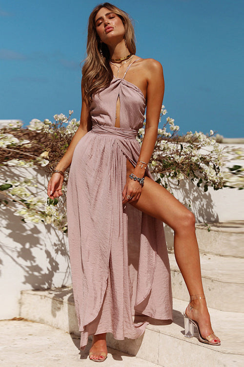 Chiffon Backless High-slit Maxi Dress - 4 Colors
