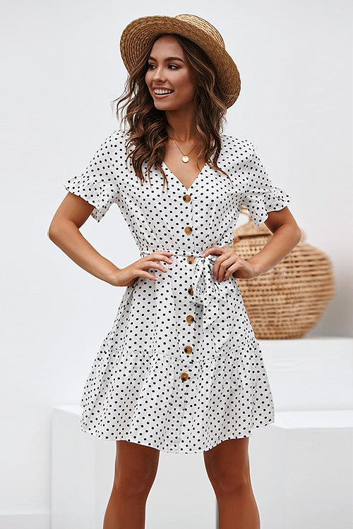 Happy Glow Polka Dot Button-Up Mini Dress - 2 Colors