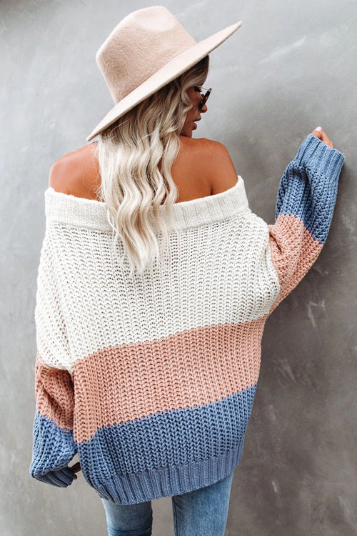 Bright Days Striped Off Shoulder Knit Sweater