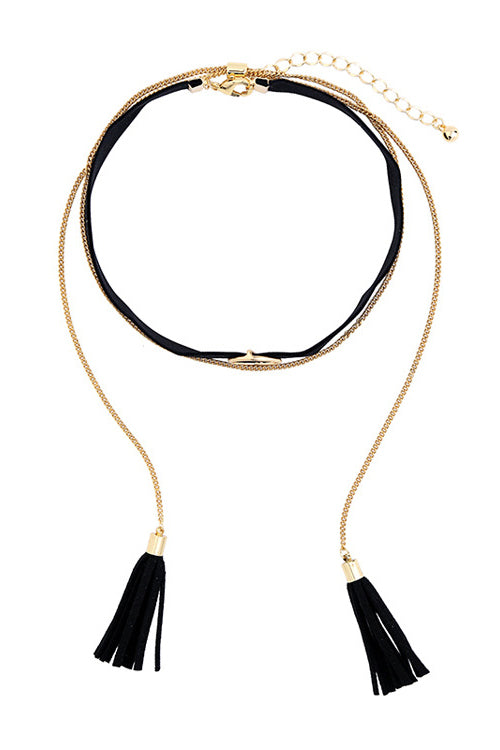 Layered Tassel Choker Necklace