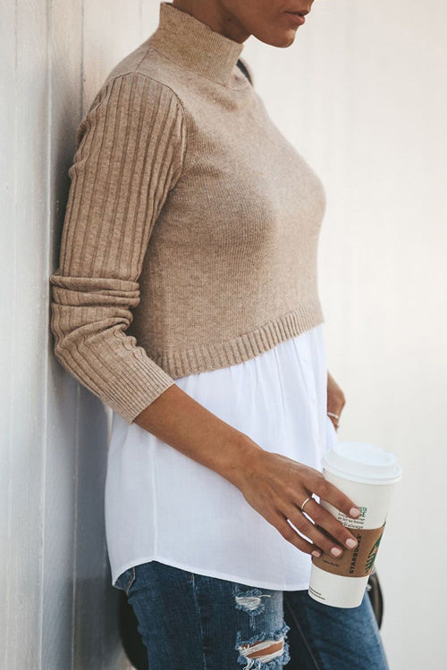 Double Layer High-Neck Knit Top - 2 Colors