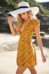 Yellow Floral V-neck Mini Dress