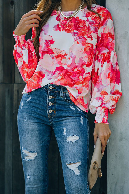 Sweet And Chic Floral Print Smocked Top