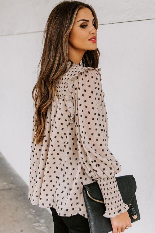 Keeping It Cute Dot Print Long Sleeve Top