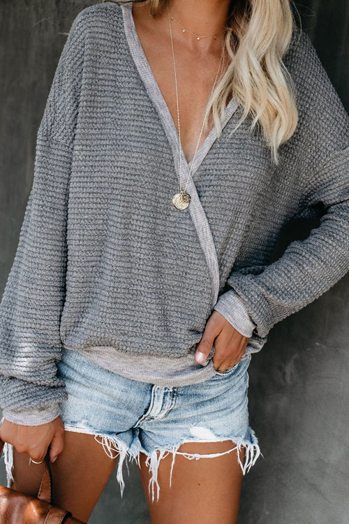 Cozy Time V-Neck Knit Sweater Top