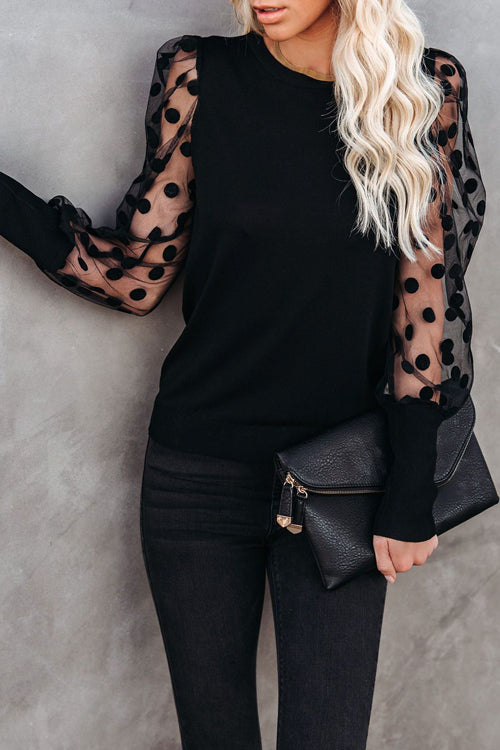 Save The Date Dotted Up Sheer Long Sleeve Top