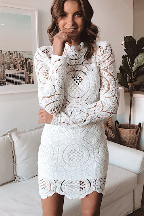 Lavish Lifestyle White Hollow-Out Mini Dress