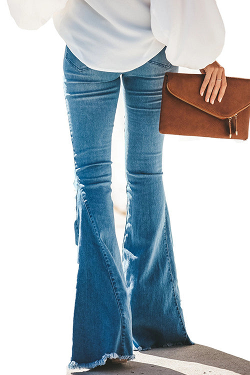 Downtown Girl Blue Wash Wide-Leg Jeans