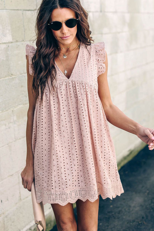 Glory of Love Pocket Pink Hollow-Out Dress
