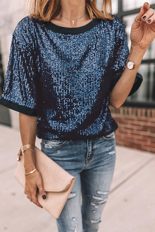 Stay Chic Blue Sequin Short Sleeve Top