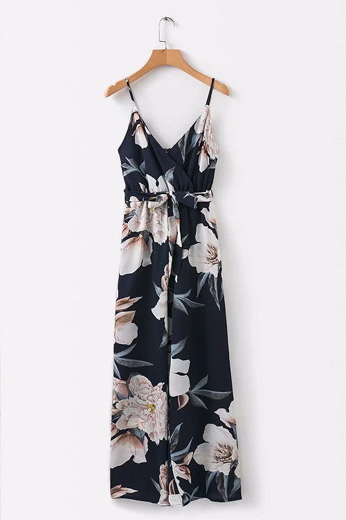 Floral Adjustable Backless Wrap Jumpsuit