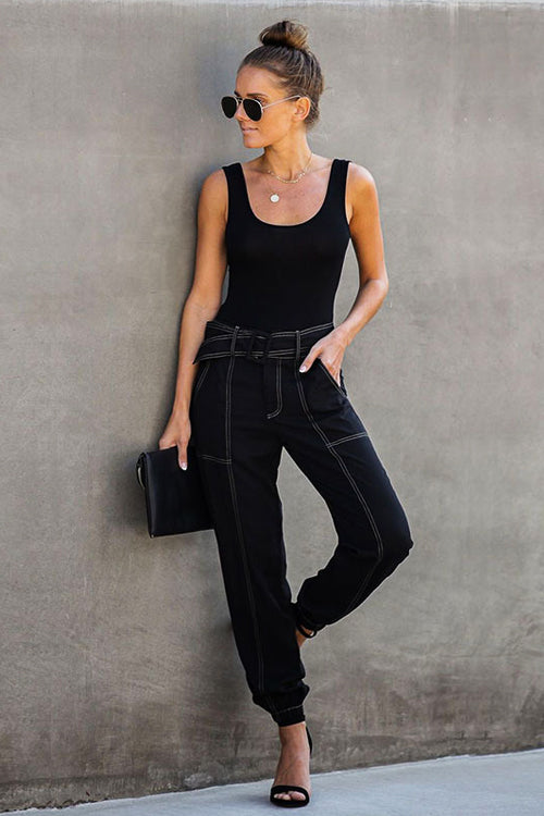 Mickie Black Seamed High-Waist Jeans