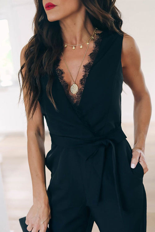 After Midnight Black Lace Sleeveless Jumpsuit