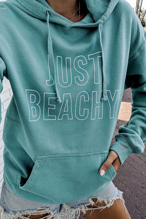 Just Beachy Green Long Sleeve Hoodie