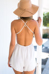 White Lace Backless Romper
