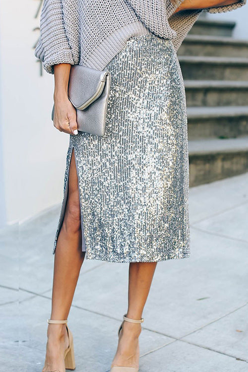 Better Luck Next Time Silver Sequin Midi Skirt