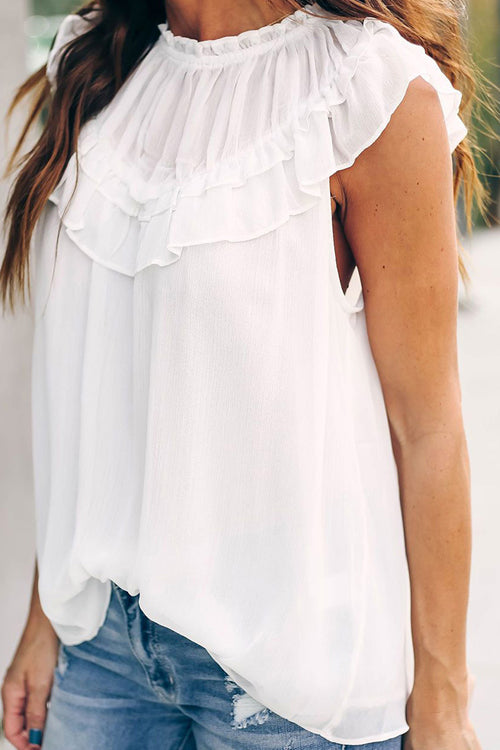 Alvarado Ruffle Up Sleeveless Top - 3 Colors