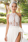 Lace Embroidered Halter Neck Top